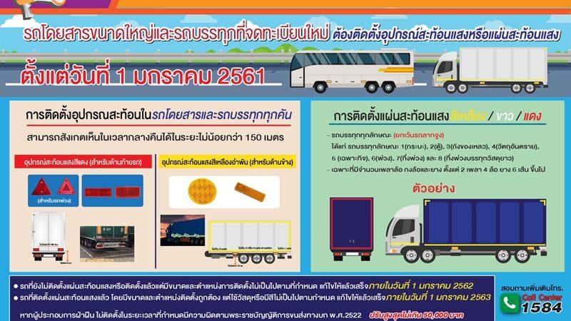"""กรมขนส่งระบุ """"รถโดยสารขนาดใหญ่ และรถบรรทุก""""ต้องติดแผ่นสะท้อนแสงเพื่อหลีกเลี่ยงอุบัติเหตุ"""
